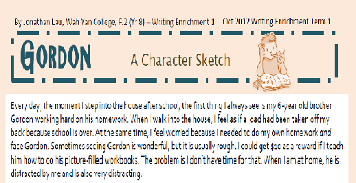 Writing Enrichment 1: Character Sketch